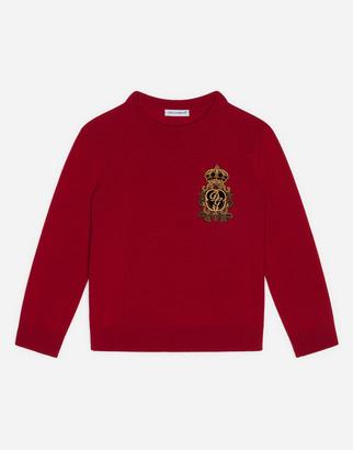 Dolce & Gabbana Round-Neck Wool Sweater With Heraldic Patch