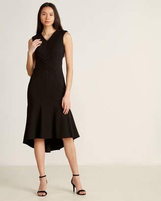 Calvin Klein Black Flutter Hem Midi Dress