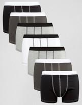 Asos Trunks In Monochrome Rib 7 Pack