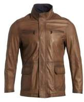 COLLECTITON Band Collar Leather Jacket