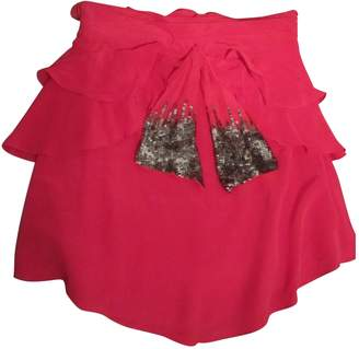 By Zoé Red Silk Skirt for Women