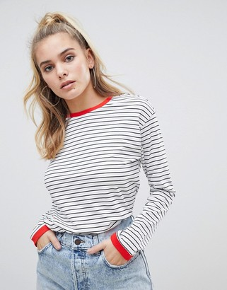 Noisy May Stripe Sweatshirt With Contrast Ringer