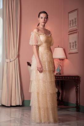 Gemy Maalouf Off Shoulder Bishop Sleeve Tiered Tulle Gown