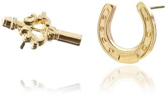 Harry Rocks Mismatch Horseshoe & Key Stud Earrings in Gold
