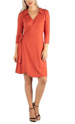 24seven Comfort Apparel Women Knee Length Collared Wrap Dress