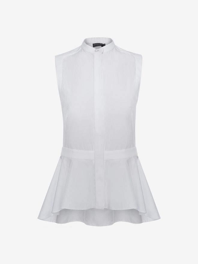 Alexander McQueen Sleeveless Peplum Shirt