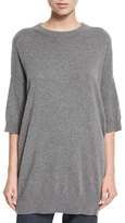 Vince Slouchy Half-Sleeve Cashmere Sweater, Heather Stone