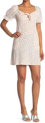 Spirit Of Grace Floral Sheer Puff Sleeve Mini Dress