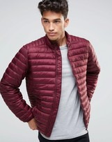 Asos Quilted Jacket with Funnel Neck and Logo in Burgundy