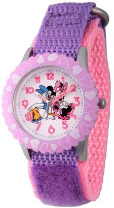 Disney Girl' Diney Minnie Moue and Daiy Duck tainle teel Time Teacher Watch - Purple