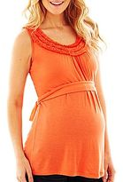JCPenney Maternity Sleeveless Ruffle-Neck Belted Top