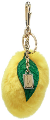 Dolce & Gabbana Yellow Lemon Pom Pom Gold Tone Key Ring / Bag Charm