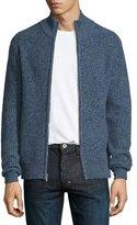 Neiman Marcus Marled Cashmere Full-Zip Bomber Cardigan