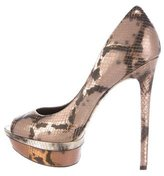 Brian Atwood Metallic Embossed Pumps