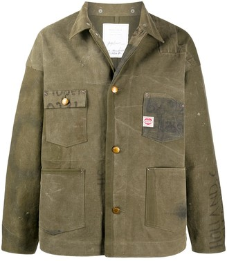 Readymade Distressed Button-Up Shirt Jacket