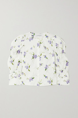 Les Rêveries Elizabeth Ruched Ruffled Floral-print Cotton-poplin Shirt - White