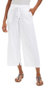Style&Co. Style & Co Wide-Leg Linen Cropped Pants, Created for Macy's