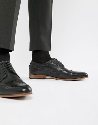 Asos Design DESIGN brogue shoes in black leather with natural sole