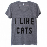 Burger And Friends I Like Cats Tee Women's Gray