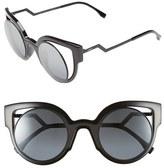 Fendi Women's 'Orchidea' 49Mm Cat Eye Sunglasses - Matte Shiny Black