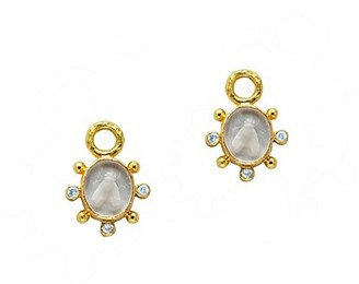 Elizabeth Locke Venetian Glass Intaglio 19K Yellow Gold & Moonstone Mosca Earring Charms