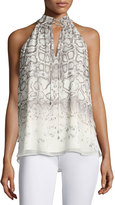Haute Hippie The New Morrison Snakeskin-Print Sleeveless Top, Natural/Gray