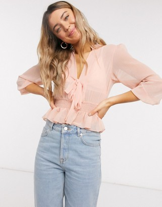 ASOS DESIGN long sleeve sheer top with shirred waist and tie detail