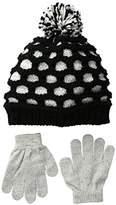 Pink Platinum Girls' Honeycomb Hat Glove Set
