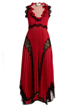 Gucci Deep V-neck lace-trimmed jersey gown