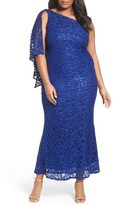 Marina Plus Size Women's Sequin Lace One-Shoulder Gown