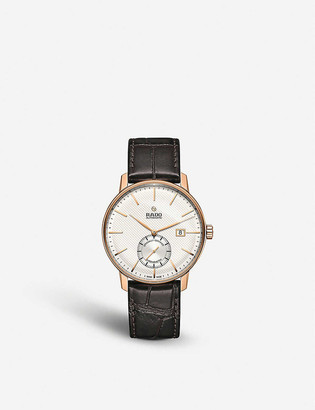Rado R22881025 Coupole Classic rose gold-plated and leather chronograph watch