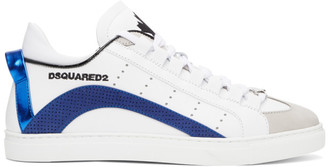 DSQUARED2 White and Blue Lace-Up Sneakers