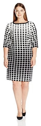 Sandra Darren Women's Size Plus 1 Pc 3/4 Sleeve Printed Ity Dress Black/Ivory 20W