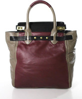 Be & D Red Taupe Leather Large Rolled Handles Double Lock Satchel Handbag