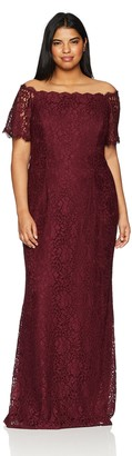 Adrianna Papell Women's Plus Size LACE Off The Shoulder Mermaid Skirt Long Dress