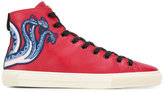 Gucci Printed hi-top sneakers - men - Cotton/Calf Leather/Leather/rubber - 6