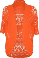 FashionMark Women's Plus Size Crochet Knitted Short Sleeve Cardigan (Teal)