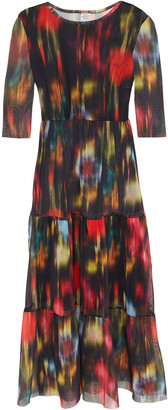 Baum und Pferdgarten Jones Gathered Printed Stretch-mesh Midi Dress