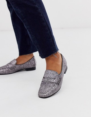Asos Design DESIGN Membership loafer flat shoes in silver glitter