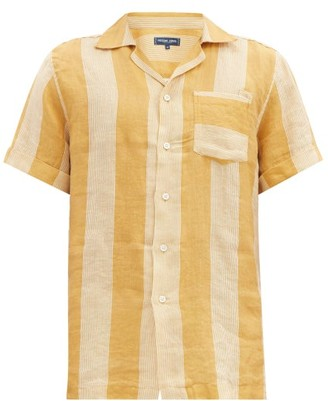Frescobol Carioca Camp-collar Striped Linen Shirt - Gold