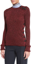 Cédric Charlier Metallic Side-Button Sweater, Red