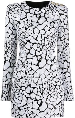 Balmain sequined long-sleeved mini dress