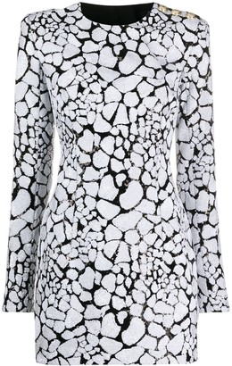 Balmain Sequined Long-Sleeved Mini Dress