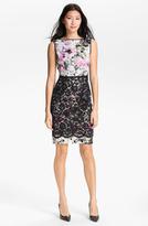 Maggy London Print Lace Overlay Sheath Dress