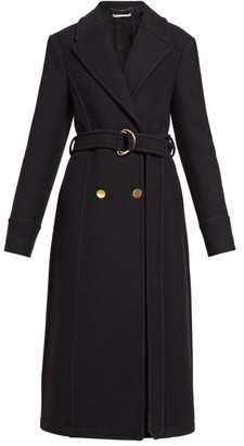 Stella McCartney Double-breasted Belted Felt Coat - Womens - Black