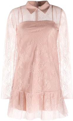 RED Valentino lace overlay collared dress