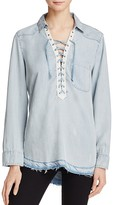 Vintage Havana Chambray Lace-Up Top