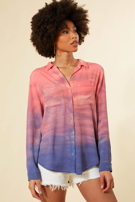 Sam&lavi Sam & Lavi Ombre Tie Dye Button Down Blouse Pink Multi XS