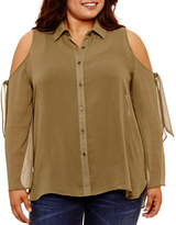 Self Esteem Relaxed Fit Long Sleeve Button-Front Shirt-Juniors Plus
