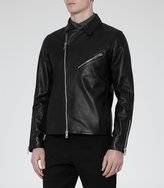 Reiss Faubourg - Leather Biker Jacket in Black, Mens